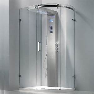 douche complete parois receveur et colonne rod 5 With porte de douche coulissante avec radiateur infrarouge salle de bain avec minuterie