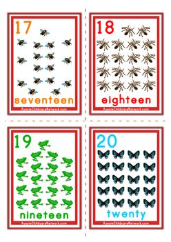 counting numbers flashcards animals aussie childcare