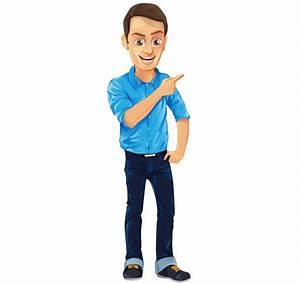 Male Vector Character with Jeans and Blue Shirt - Vector Characters