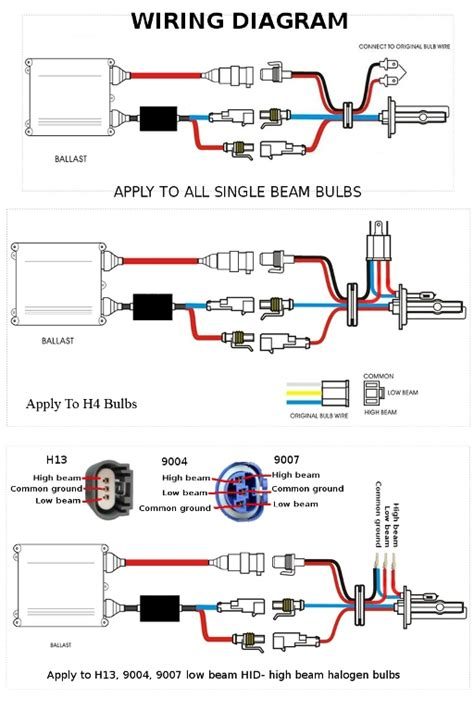 Hid Kit Wiring Diagram by 7x6 Projector H4 Headlights H6054 H6052 H6014 Ac 6000k