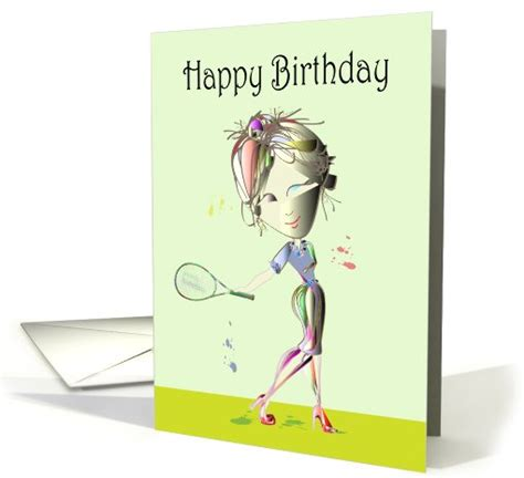 happy birthday fun card modern woman playing tennis