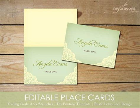 editable place cards template by mycrayons instant