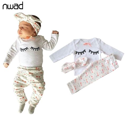 Cute Eyelash Baby Girl Clothes Set 2017 Cotton Clothing Suit For Newborn Baby Outfits Tops ...