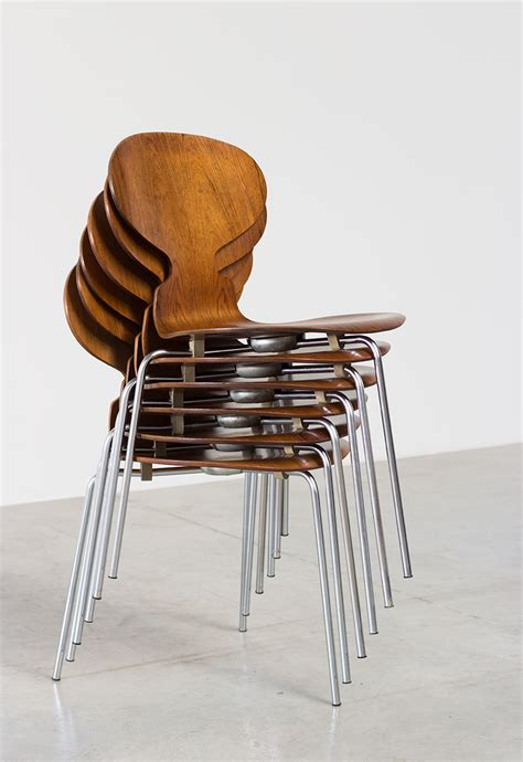 chaise danoise arne jacobsen set of six ant chairs in rosewood