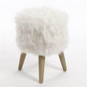Tabouret A Poils : pouf fourrure blanc paris ~ Teatrodelosmanantiales.com Idées de Décoration