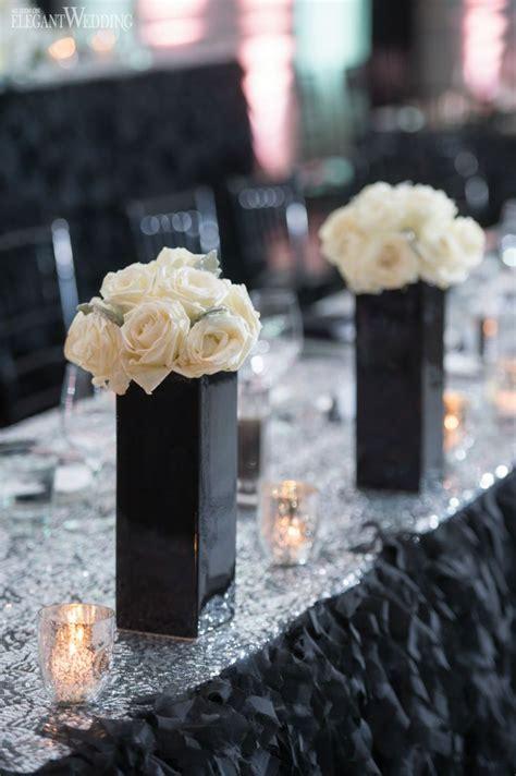 black white wedding inspiration centerpieces white