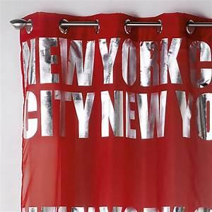 Rideau Voilage Rouge : rideau voilage new york silver 140x260cm rouge ~ Teatrodelosmanantiales.com Idées de Décoration