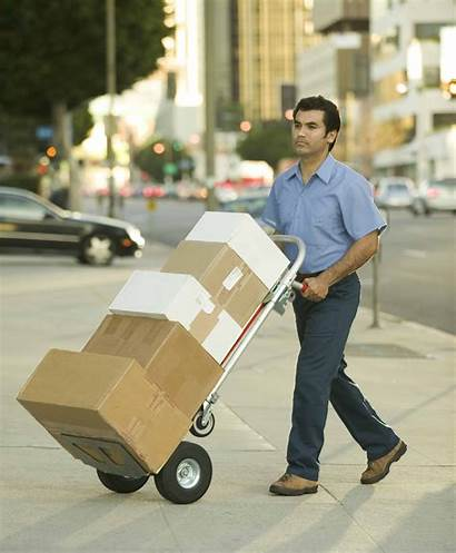 Delivery Package Handtruck Deliver Person Hand Truck