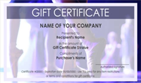 dance school gift certificate templates easy   gift