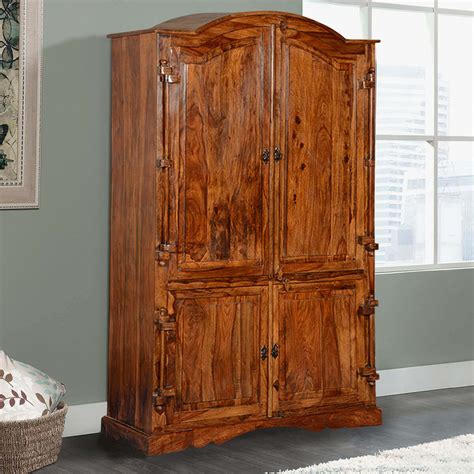 Wardrobe Armoire by Modern Rustic Solid Hardwood 4 Door Bedroom Armoire