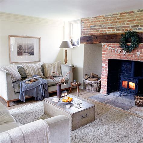 country living room with inglenook fireplace decorating ideal home