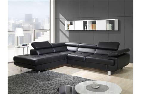 canapé d angle noir cuir canapé design d 39 angle studio cuir pu noir canapés d