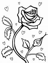 Coloring Roses Hearts Printable sketch template