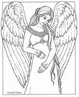 Coloring Angel Pages Adults Print sketch template