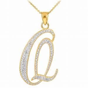 diamond script letter q pendant necklace in 9ct gold With letter q necklace