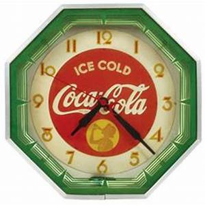 Coca Cola neon clock octagon metal case w reverse paint