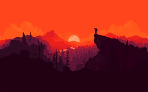 Nature Sunset Simple Minimal Illustration, Hd 4k Wallpaper