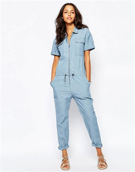 utility jumpsuit pull pull chambray utility jumpsuit at asos
