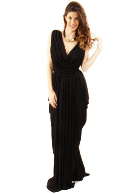 black drape dress join grecian dress black grecian drape dress black