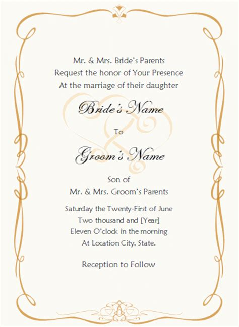 Blank Wedding Invitation Templates Free OOSILE