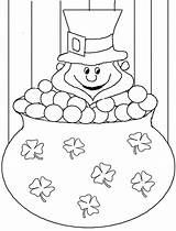 Leprechaun Coloring Pages Clover Leaf Four Template Printable St Gold Pot Patricks Patrick Hat Sheets Dessin Shamrock Colorier Templates Colouring sketch template
