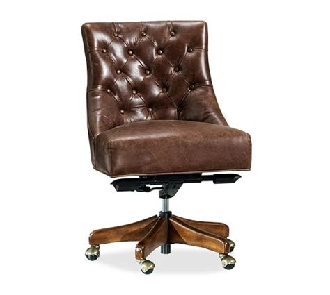 tufted leather swivel desk chair pottery barn