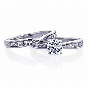 double accent platinum plated sterling silver wedding With engagement rings wedding band