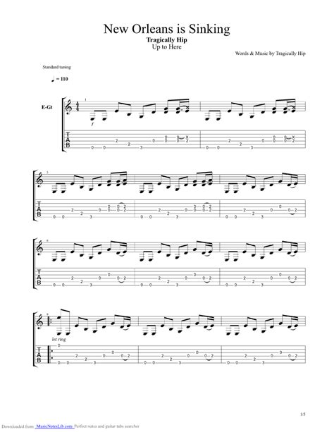 The Tragically Hip New Orleans Is Sinking by New Orleans Is Sinking Guitar Pro Tab By Tragically Hip