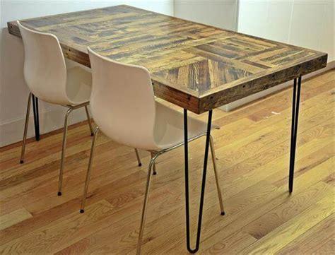 diy pallet wood dining table  steel legs  pallets