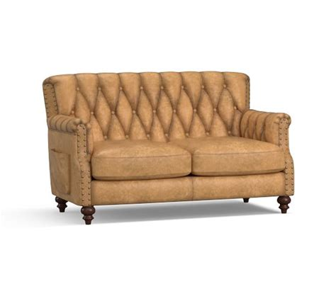 Settee Leather by Colton Leather Settee Pottery Barn