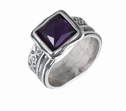 Silver Ring Sterling Amethyst Square Cut Jewelry