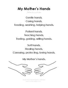 mothers hands poem  activities  words   limb