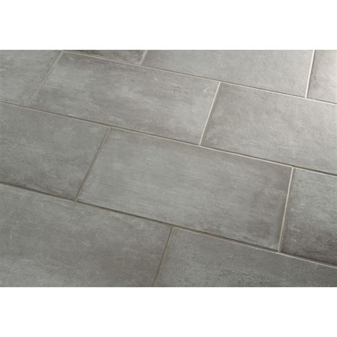 Lowes Bathroom Floor Tiles by Shop Style Selections Cityside Gray Porcelain Floor Tile