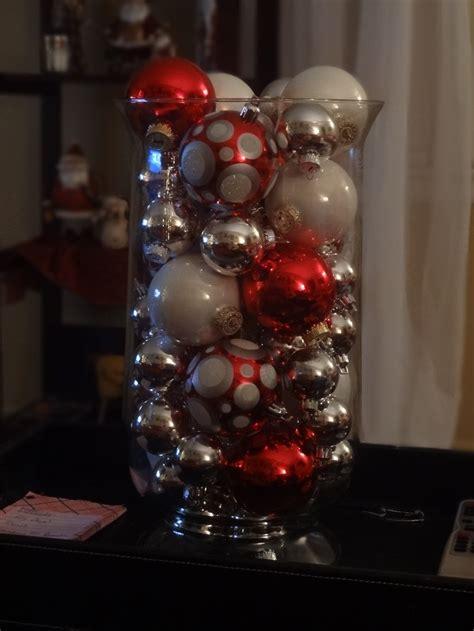 ornaments in glass vase christmas pinterest