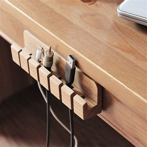 Wooden Cable And Charger Organizer Cable Management For