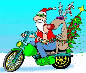 Papá Noel y Rudolph en una moto Navidad divertida