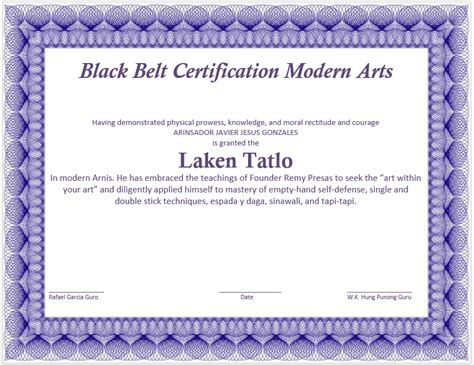 Martial Arts Certificate Template by Martial Certificate Template Microsoft Word Templates