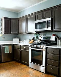 painting laminate cabinets before and after refinish With best brand of paint for kitchen cabinets with have stickers made