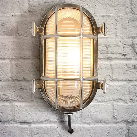 industrial oval chrome outdoor wall light by i retro