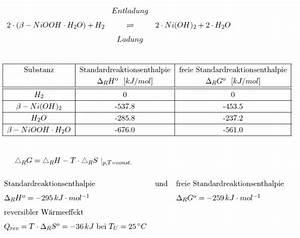 Batterie Berechnen : w rme berechnung der reversiblen w rme einer batterie beim laden und entladen chemielounge ~ Themetempest.com Abrechnung