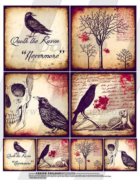 printable gothic raven digital collage sheet