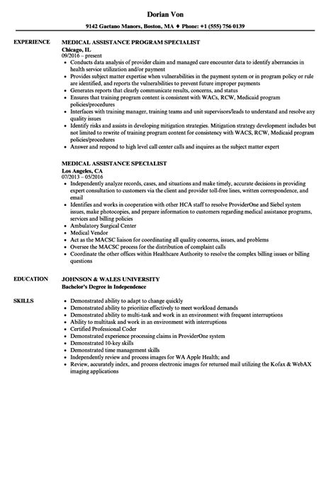 Resume Assistance by Assistance Specialist Resume Sles Velvet