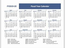 2019 Fiscal Year Calendar Template UK Free Printable