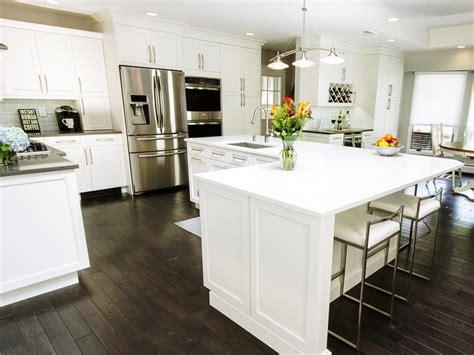 kitchen island overhang before and after l shaped kitchen remodels hgtv