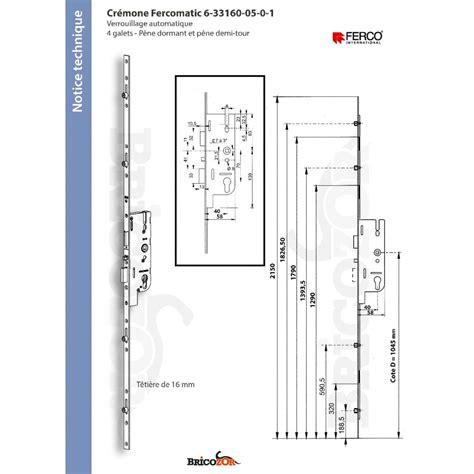serrure 5 points serrure 5 points 224 cylindre automatique t 234 ti 232 re 16 mm fercomatic ferco bricozor