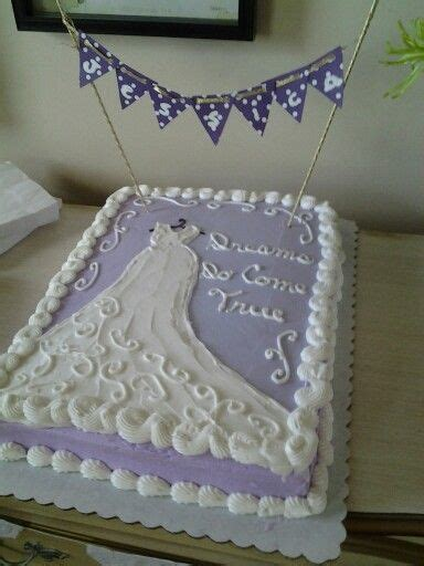 Bridal Shower Sheet Cake With A Diy Banner With Brides