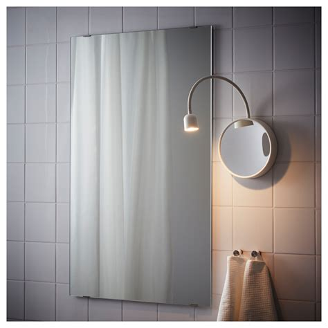 Ikea Bathroom Mirror Lights by Bl 197 Vik Led Wall L With Mirror Battery Operated White Ikea