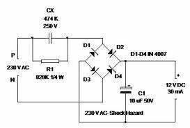 12v dc power supply without transformer power supply With transformerless ac to dc power supply circuits electronic projects