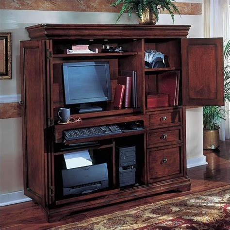 home office desk armoire office armoires furniture office flexsteel rue de lyon computer armoire in ruby cabernet