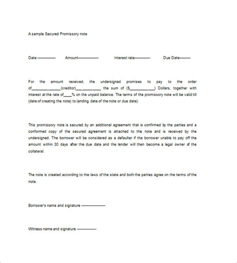 Secured Promissory Note Template Free by Secured Promissory Note Templates 9 Free Word Excel